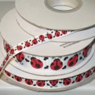 "5/8"" - Lady Bug with Black Hearts - Grosgrain Ribbon - White - 5 yards"