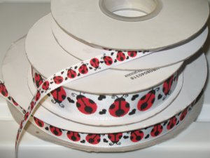 "7/8"" - Lady Bugs with Black Hearts - Grosgrain Ribbon - White - 5 yards"
