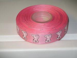 "7/8"" - Playful Pigs - Grosgrain Ribbon - Pink - 5 yards"