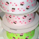 "1-1/2"" & 7/8"" Grab Bag of Cupcakes - Grosgrain Ribbon - White, Powder Pink, Key Lime  - Entire Rolls"