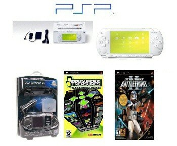 "Sony PSP ""Limited Edition"" Ceramic White ""Star Wars Bundle"" - 21 Games + PSP Car Kit"