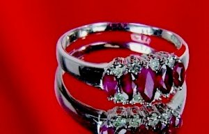 GENUINE .77 ctw RUBY & DIAMOND RING
