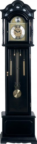 Edward Meyer Grandfather Clock with black finish and Mother-of-Pearl inlay