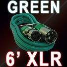 Green XLR Mic Cable 6 Ft - Male To Female 3 Pin - Colored Cord