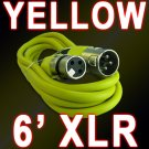 Yellow XLR Mic Cable 6 Ft - Male To Female 3 Pin - Colored Cord