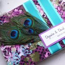 Custom Peacock Feather  Wedding Guest Book