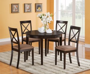 Boston Contemporary Dinette Kitchen Set Table 42&quot; Round w/4 Chairs in Cappuccino. SKU#: B5-CAP-C