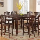9-Pc Chelsea Counter Height Table with 8 Wood Seat Stools in Mahogany SKU#: CH9-MAH-W