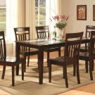 Capri table with temped glass & 6 wood seat chairs in cappuccino SKU#: C7G-CAP-W
