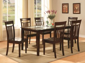 Capri table with temped glass & 4 wood seat chairs in cappuccino SKU#: C5G-CAP-W