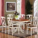 7-PC Kenley Oval Dining Set table & 6 Chairs in Buttermilk & Saddle Brown. SKU#: K7-WHI-W