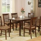 "Milan Dinette Kitchen Set, Table 36""x 54"" with 6 Chairs in Mahogany Finished. SKU#: M7-MAH"