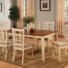 7-PC Nicoli Dining Set, Table with 6 Cushion Seat Chairs in Buttermilk & Saddle Brown. SKU#:N7-WHI-C
