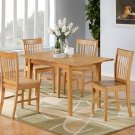 5-PC Norfolk kitchen set, table with 4 wood seat chairs in OAK Finish. SKU#: NF5-OAK-W