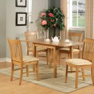 5-PC Norfolk kitchen set, table with 4 cushioned seat chairs in OAK Finish. SKU#: NF5-OAK-C