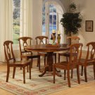 7-PC Portna Dining Table with 6 Wood Seat Chairs in Saddle Brown Finish. SKU#: PNA7-SBR-W