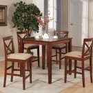 5-PC Square Pub Set Counter Height Table with 4 Cushion Seat Chairs in Dark Brown SKU#: PUB5-BRN-C