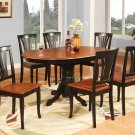 7-PC Avon Oval Dining Table with 6 Wood Seat Chairs in Black & Cherry. SKU# AVON7-BLK-W