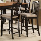 Set of 2 Chelsea counter height chairs with cushioned seat in black color, SKU#: CC-BLK-C