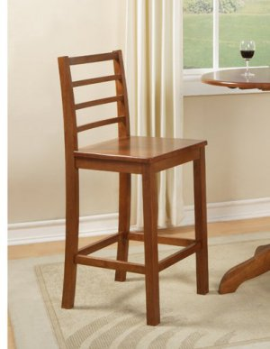 Set of 2 Lily bar height chair with wood seat in medium brown finish, SKU#: LS-BRN-W