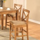 Set of 2 Pub counter height stools with microfiber upholstered seat in Oak finish. SKU#: PBS-OAK-C