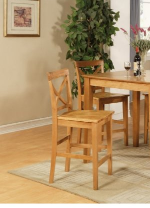 Set of 2 Pub counter height stools with wood seat in oak finish. SKU#: PBS-OAK-W