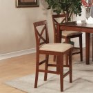 Set of 2 Pub counter height stools with microfiber upholstered seat in brown finish. SKU#: PBS-BRN-C