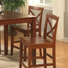 Set of 2 Pub counter height stools with wood seat in brown finish. SKU#: PBS-BRN-W