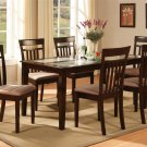 Capri table with temped glass & 6 cushioned seat chairs in cappuccino SKU#: C7G-CAP-C