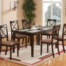 7-PC Cabos Dinette Dining Set in Cappuccino-Table w/ Glass top & 6 Cushion Chairs. SKU: CB7G-CAP-C