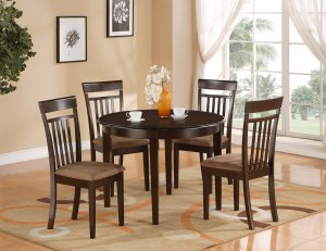 "5-PC Bosca Dinette Kitchen Set Table 42"" Round with 4 Chairs in Cappuccino. SKU#: BOSCA5-CAP-C"