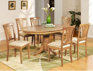 7-PC Avon Dining Table with 6 Microfiber Upholstered Chairs in Oak Finish. SKU#:AVON7-OAK-C