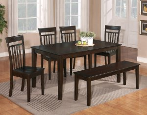 7PC CAPRI DINING SET, TABLE with 6 WOOD SEAT CHAIRS (WITHOUT BENCH) IN CAPPUCCINO, SKU: C7S-CAP-W