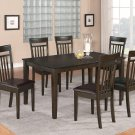 7PC CAPRI KITCHEN SET TABLE with 6 FAUX LEATHER SEAT CHAIRS IN MAHOGANY -SKU# C7S-CAP-LC