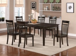9-PC Hudson Dining Table with 8 Wood Seat Chairs in Cappuccino. SKU#: HS9-CAP-W