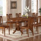 7-PC Newton Oval Dining Room Set Table with 6 Wood Seat Chairs in Saddle Brown. SKU: NT7-SBR-W