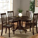 5-PC Antique Round Table with 4 Wood Seat Chairs in Cappuccino Finish. SKU#: ANT5-CAP