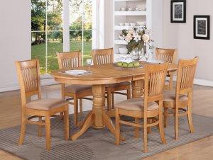 5-PC Vancouver Dining Set, Oval Table w/4 Microfiber Upholstered Seat Oak finish, SKU#: VANC5-OAK-C