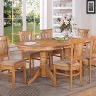 9-PC Vancouver Dining Set, Oval Table w/8 Microfiber Upholstered Seat Oak finish, SKU: VANC9-OAK-C