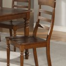 Set of 2 Vintage dining chairs with plain wood seat in walnut finish