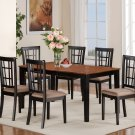 7-PC Nicoli Dining Set, Table with 6 Cushion Seat Chairs in Black & Saddle Brown. SKU: N7-BLK-C