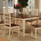 7-PC Nicoli Dining Set, Table with 6 Wooden Seat Chairs in Buttermilk & Saddle Brown. SKU#:N7-WHI-W