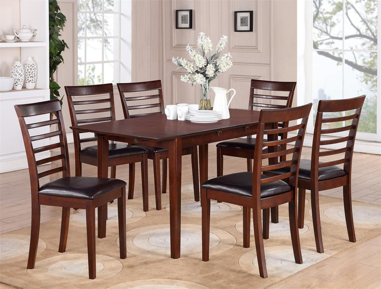 7 pc picasso kitchen dining set table w32xl60xh30 with 6 for Leather kitchen table chairs