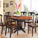 7pc Kenley Kitchen Dining Set, Table W/6 Plain Wood Seat Chairs in Black & Cherry SKU: K7-BLK-W