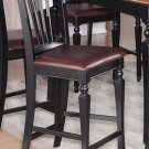 "SET OF 2 KITCHEN COUNTER HEIGHT CHAIRS 24"" w/ FAUX LEATHER IN BLACK & CHERRY, SKU: CC-BLK-LC"
