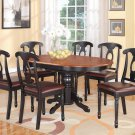 7pc Kenley Kitchen Dining Set, Table W/6 Leather Seat Chairs in Black & Cherry SKU: K7-BLK-LC