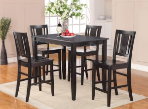 5pc Buckland rectangular counter height table + 4 wood seat chairs in black, SKU: BUCK5-BLK-W