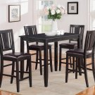 5PC RECTANGULAR COUNTER HEIGHT TABLE 30X48 with 4 LEATHER SEAT CHAIRS IN BLACK, SKU: BU5-BLK-LC