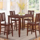 5PC RECTANGULAR COUNTER HEIGHT SET TABLE 30X48 with 4 WOOD SEAT CHAIR IN MAHOGANY, SKU: BU5-MAH-W