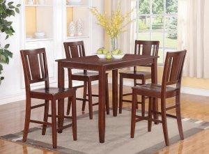 5pc Buckland rectangular counter height table + 4 wood seat chairs in mahogany, SKU: BUCK5-MAH-W